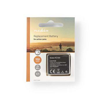 ACBT10BK Reservebatterij actiecamera | 1050 mah | max. 70 minuten | 3,7 v