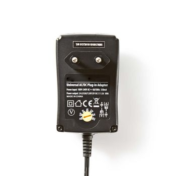 ACPA002 Universele ac-voedingsadapter | 3/4,5/5/6/7,5/9/12 v dc | 1,5 a Product foto