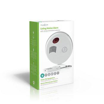 ALRMMC10WT Bewegingsalarm voor beveiliging | plafondbeugel | alarm/zoemer | op afstand in-/uitschakelen Verpakking foto