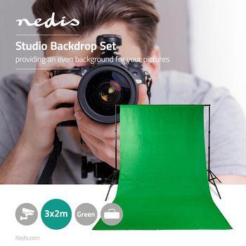 BDKT10GN Set achtergronddoeken voor fotostudio | 1,90 x 2,95 m | 1 | inclusief reistas | groen/zwart Product foto