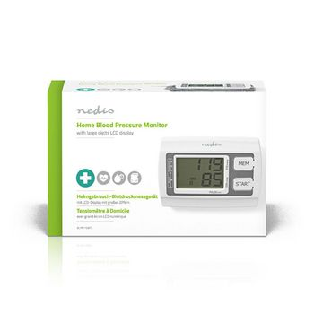 BLPR110WT Bloeddrukmeter voor bovenarm | lcd groot | 2x 60 geheugenopslag Verpakking foto