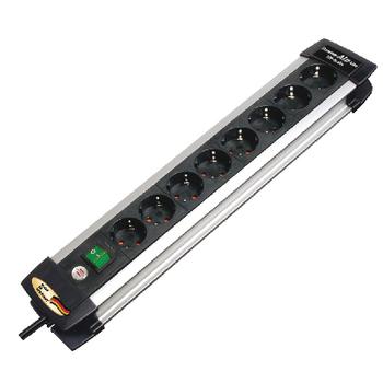 BN-1391000018 Stekkerdoos premium-alu-line 8-wegs 3.00 m aluminium/zwart - geaard