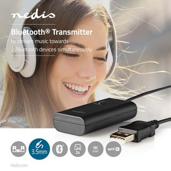BTTR100BK Bluetooth®-zender | input: 1x 3,5 mm | aptx ™ low latency / aptx™ / sbc | maximaal  Product foto