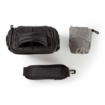 CBAG200BK Camera-schoudertas | 152 x 146 x 65 mm | 2 binnenvakken | zwart/oranje Inhoud verpakking foto