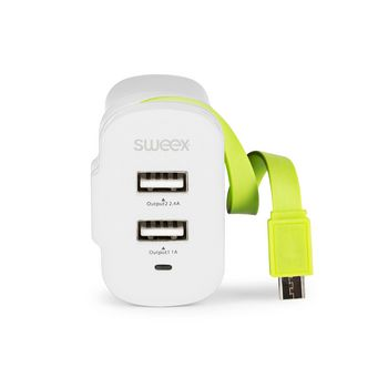 CH-026WH Lader 3-uitgangen 3 a 2x usb / micro-usb wit/groen