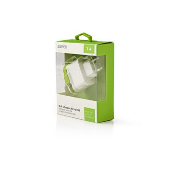 CH-026WH Lader 3-uitgangen 3 a 2x usb / micro-usb wit/groen Verpakking foto