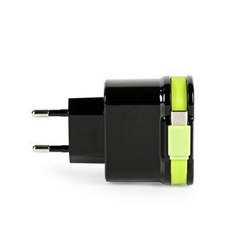 CH-027BL Lader 3-uitgangen 3 a 2x usb / usb-c™ zwart/groen Product foto