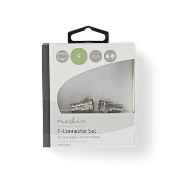 CSBW41913ME F-connector weerbestendig | mannelijk - voor 5,5 mm coaxkabels | 2 stuks | metaal Verpakking foto