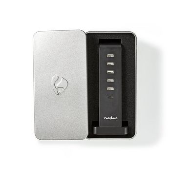 FSCSPD110GY Oplader | snellaad functie | pd2.0 30w | 1x 1,0 a / 1x 3,0 a / 4x 2,1 a | outputs: 6 | usb-c™  Verpakking foto