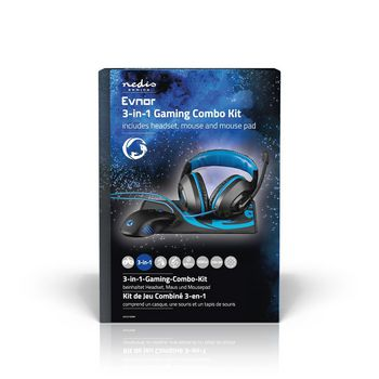 GCK31100BK Gaming combo kit | 3-in-1 | koptelefoon, muis en muismat | zwart/blauw  foto