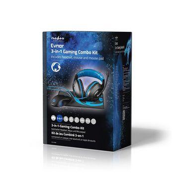 GCK31100BK Gaming combo kit | 3-in-1 | koptelefoon, muis en muismat | zwart/blauw Verpakking foto