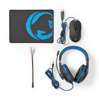 GCK31100BK Gaming combo kit | 3-in-1 | koptelefoon, muis en muismat | zwart/blauw