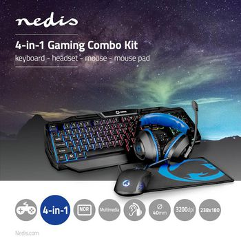 GCK41100BKND Gaming combo kit   4-in-1   toetsenbord, koptelefoon, muis en muismat   zwart/blauw   qwerty   scand Product foto