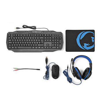 GCK41100BKND Gaming combo kit   4-in-1   toetsenbord, koptelefoon, muis en muismat   zwart/blauw   qwerty   scand Inhoud verpakking foto