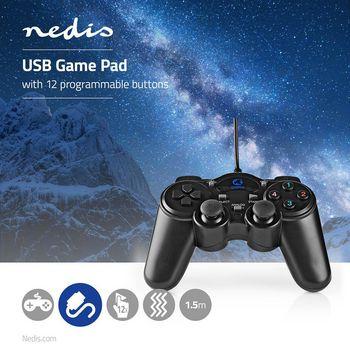 GGPD100BK Gamepad | usb type-a | usb gevoed | pc | aantal knoppen: 12 | kabellengte: 1.50 m | zwart Product foto
