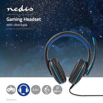 GHST100BK Gaming headset | over-ear | stereo | 2x 3.5 mm | opvouwbare microfoon | 2.20 m | normale verlichting Product foto