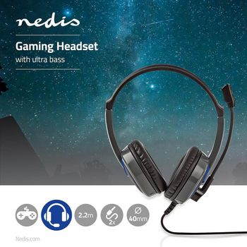 GHST200BK Gaming headset | over-ear | stereo | 2x 3.5 mm | opvouwbare microfoon | 2.20 m | normale verlichting Product foto