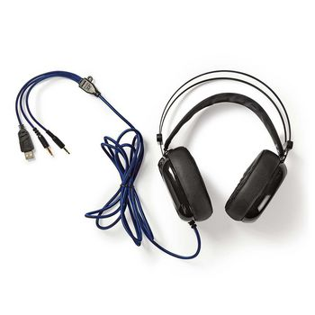 GHST300BK Gaming headset | over het oor | ultra bass | led-lampje | 3,5 mm- en usb-stekkers Inhoud verpakking foto