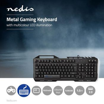 GKBD200BKUS Gaming-toetsenbord | rgb-verlichting | usb 2.0 | us international | metalen design Product foto