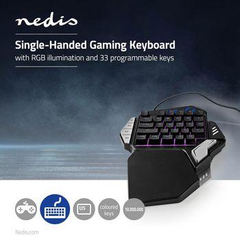 GKBD300BK Single-handed gamingkeyboard   rgb-verlichting   33 programmeerbare toetsen Product foto