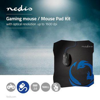 GMMP100BK Gaming muis & muismat set | 130 mm | 244 mm | bedraad | dpi: 800 / 1200 / 1600 dpi | instelbare dpi  Product foto