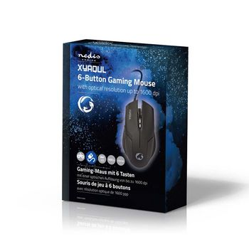 GMWD100BK Gaming-muis | bedraad | verlicht | 1600 dpi | 6 knoppen Verpakking foto
