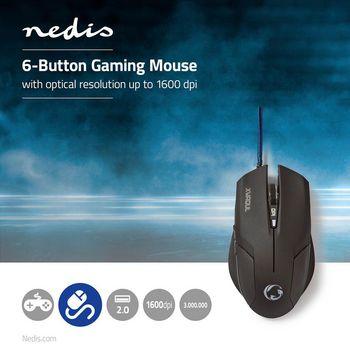 GMWD100BK Gaming-muis   bedraad   verlicht   2400 dpi   6 knoppen Product foto
