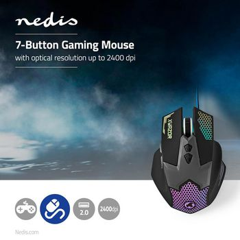 GMWD200BK Gaming-muis | bedraad | verlicht | 2400 dpi | 7 knoppen Product foto