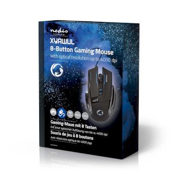 GMWD300BK Gaming-muis | bedraad | verlicht | 4000 dpi | 8 knoppen Verpakking foto