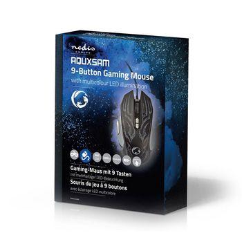 GMWD400BK Gaming-muis | bedraad | verlicht | 4000 dpi | 9 knoppen Verpakking foto