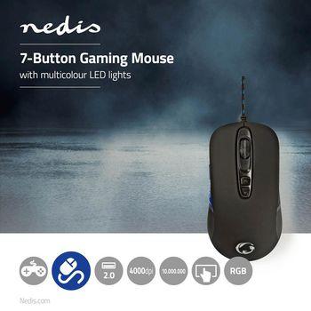 GMWD401BK Gaming-muis   met kabel   rgb verlicht   4000 dpi   7 knoppen Product foto