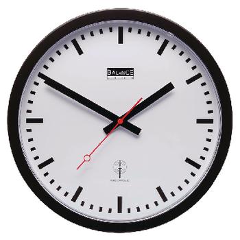 HE-CLOCK-18 Zendergestuurde wandklok 30 cm analoog wit/zwart