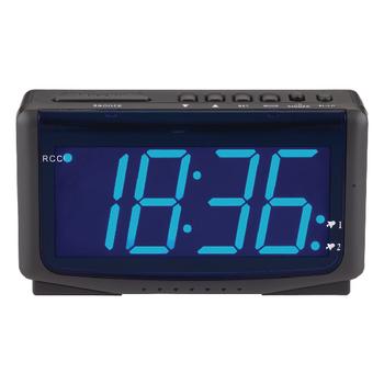 HE-CLOCK-65 Zendergestuurde wekker digitaal zwart
