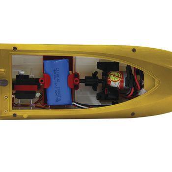 JAM-040630 R/c-boot fin255 rtr 2.4 ghz control geel In gebruik foto