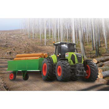 JAM-403702 R/c-tractor claas axion 850 met aanhanger rtr 1:28 groen In gebruik foto