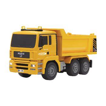 JAM-405002 R/c-dumptruck man 3+4-kanaals rtr / geluid / met verlichting / 4wd 2.4 ghz control 1:20 geel