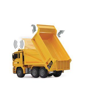 JAM-405002 R/c-dumptruck man 3+4-kanaals rtr / geluid / met verlichting / 4wd 2.4 ghz control 1:20 geel In gebruik foto