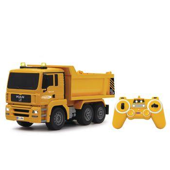 JAM-405002 R/c-dumptruck man 3+4-kanaals rtr / geluid / met verlichting / 4wd 2.4 ghz control 1:20 geel Inhoud verpakking foto