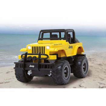 JAM-405124 R/c jeep wrangler rubicon 1:18 geel In gebruik foto