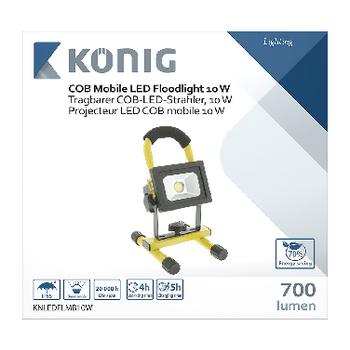KNLEDFLMB10W Mobiele led floodlight 10 w 700 lm zwart / geel Verpakking foto