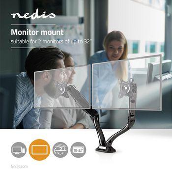 MMNTDO100BK Bureau-monitorsteun   dubbele monitorarm   full-motion   10 - 32\