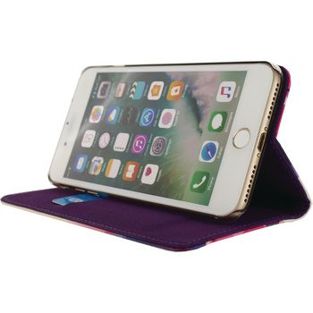 MOB-22794 Smartphone premium magnet book case apple iphone 7 plus bloemen In gebruik foto