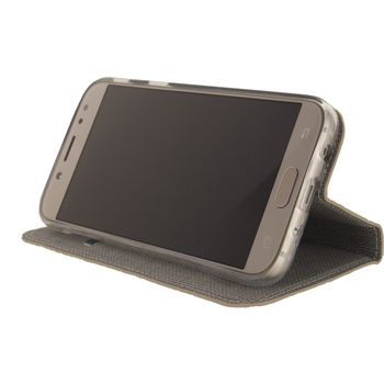 MOB-23553 Smartphone premium gelly book case samsung galaxy j7 2017 bruin In gebruik foto