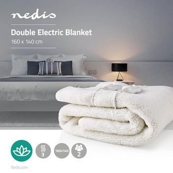 PEBL120CWT2 Elektrische onderdeken | onderdeken | 2 personen | 160 x 140 cm | 3 warmte standen | wasmachinebeste Product foto