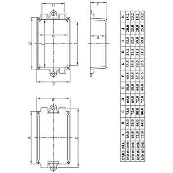 RND 455-00080 Kunststof behuizing 38 x 65 x 22 mm zwart abs Product foto
