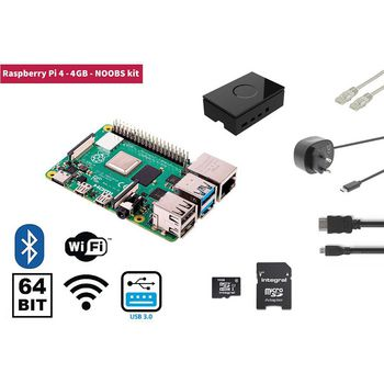 RP4KIT4GB Raspberry pi 4 4 gb starter kit + noobs software tool