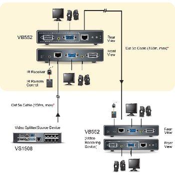 VB552-AT-G Vga / audio cat5 repeater 150 m Product foto