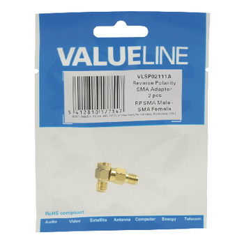 VLSP02111A Sma-adapter rp sma male - sma female goud Verpakking foto
