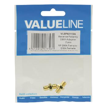 VLSP02113A Sma-adapter rp sma female - sma female goud Verpakking foto