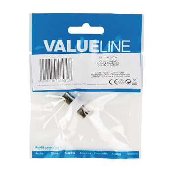 VLSP40940W Coax-adapter coax male (iec) - coax male (iec) wit Verpakking foto